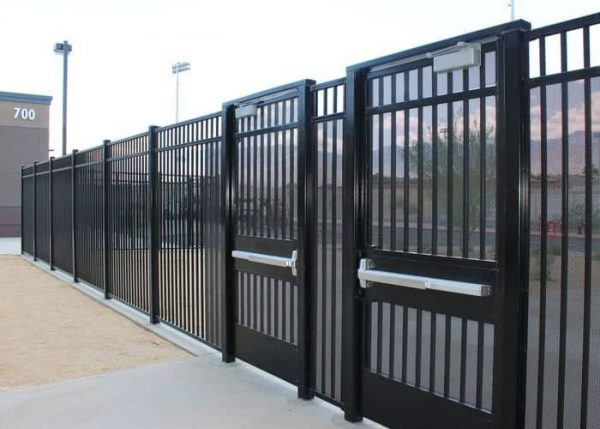 black gates protecting a facility