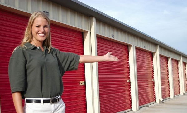 A woman showing the storage facility