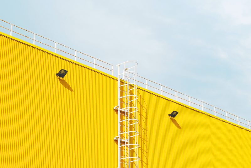 A warehouse with yellow walls